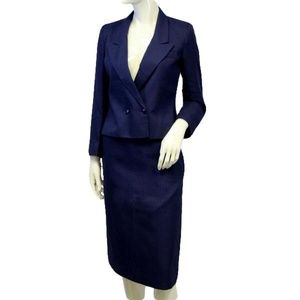 Karen Joyce Royal Purple Knit Power Suit Size 8